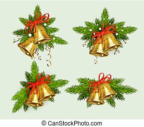 Christmas composition of spruce green branches with snowflakes and golden bells, design element.