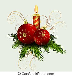 Christmas composition of spruce green twigs, a burning candle and red balls,