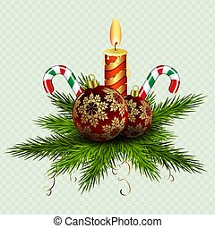 Christmas composition of spruce green twigs, burning candles, balls and two staffs.