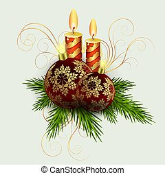 Christmas composition of spruce green twigs, two candles and balls with golden snowflakes.