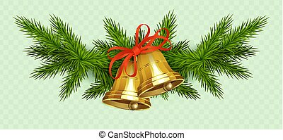 Christmas composition of spruce green twigs, two golden bells with red ribbon