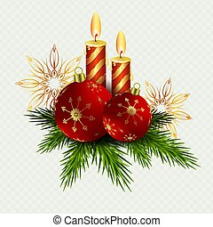 Christmas composition of two candles and red Christmas balls, snowflakes and twigs of the Christmas tree