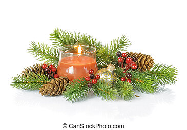 Christmas composition with a burning candle