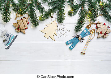 Christmas composition. Christmas fir branches and wooden...