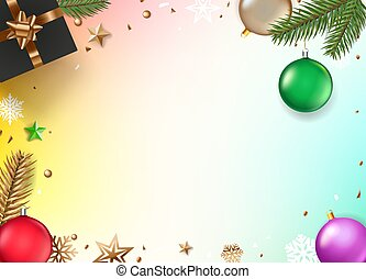 Christmas composition top view? Vector illustration