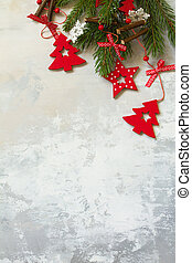 Christmas composition, winter, new year concept. Branches of spruce and red decorations.Top view flat lay. Free space for your text.
