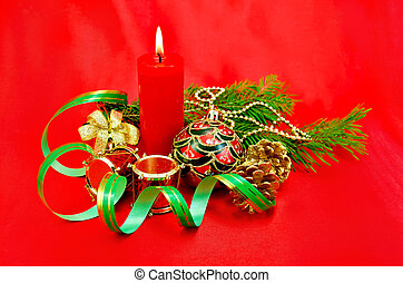Christmas composition with a candle