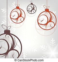 Christmas composition with beautiful balls with abstract pattern.