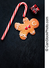 Christmas composition with Christmas gift, Gingerbread man...
