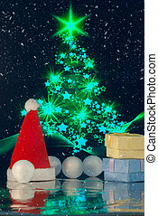 Christmas composition with Christmas tree, Santa claus cap, gift or present box and decorative snowballs against holiday lights ba
