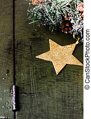 Christmas composition with decorations on dark wooden white b