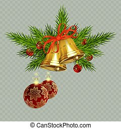 Christmas composition with golden bells with a ribbon, spruce twigs and red balls with snowflakes,