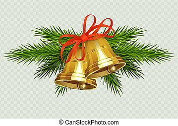 Christmas composition with golden bells with red ribbon and sprigs of Christmas tree.