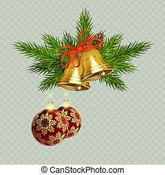 Christmas composition with golden bells with red ribbon, spruce twigs and two red balls