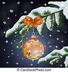 Christmas composition with orange ball and bow on a snow-covered fir branch on a dark blue background