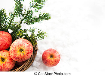 Christmas composition with red apples in basket and branch of snow-covered spruce