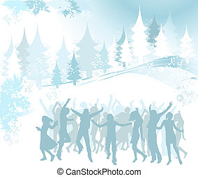 Christmas composition with silhouettes dancing