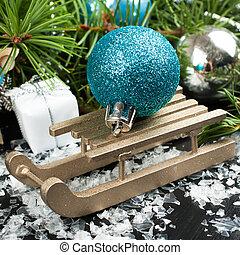Christmas composition with sleigh