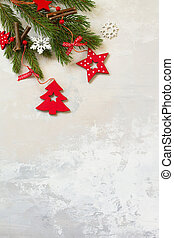 Christmas composition.Branches of spruce and red decorations. Christmas, winter, new year concept. Top view flat lay. Free space for your text.