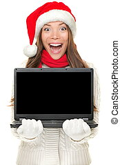 Christmas computer woman holding notebook