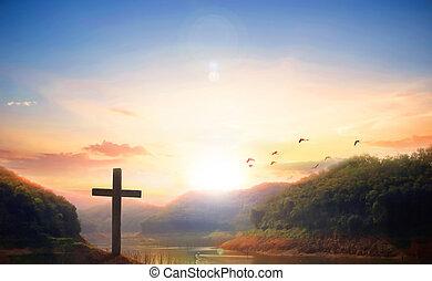 Christmas concept: cross of Jesus Christ