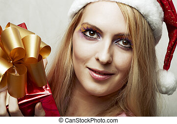 Christmas concept. happy woman with gift box