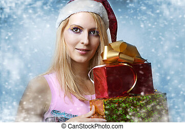 Christmas concept. happy woman with gifts