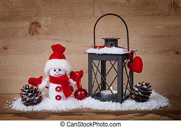 Christmas concept lantern and snowman