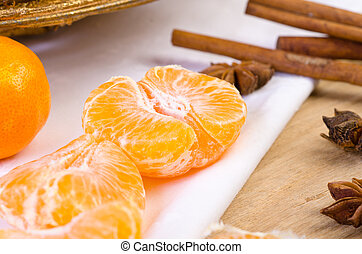 mandarin without the skin, spices, cinnamone