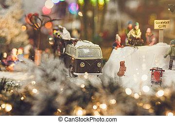 Christmas concept-miniature retro car