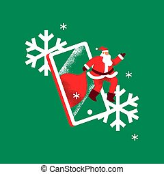Christmas concept of santa claus in mobile phone