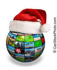Christmas concept - photo globe in Santa hat