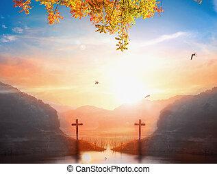 Christmas concept: Silhouette cross of Jesus Christ