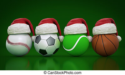 Christmas concept. Sports balls. 3d rendering