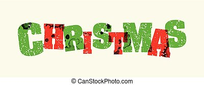 Christmas Concept Stamped Word Art Illustration