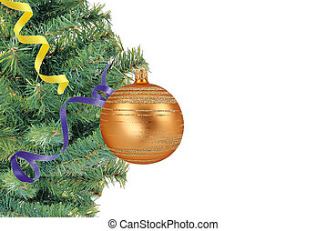 Christmas concept with baubles and new year tree on white
