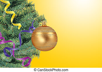 Christmas concept with baubles and new year tree over yellow