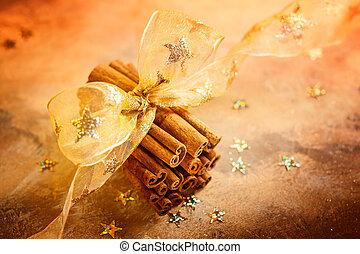 Christmas concept with cinnamon sticks
