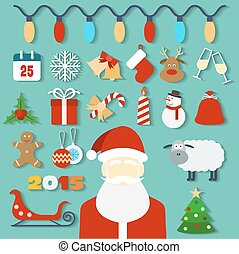 Christmas concept with flat icons and Santa. Vector illustration