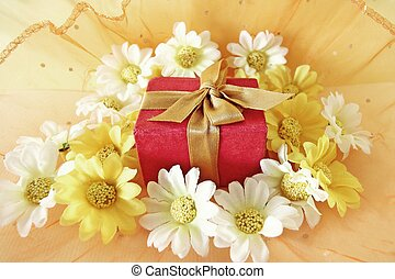 Christmas concept with gift box and flowers
