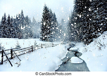 Christmas concept with snowy fir trees in the mountains