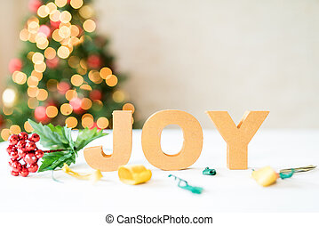 """Christmas concept with word """"JOY"""""""