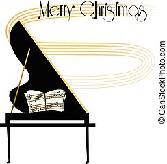 """Grand piano with a Christmas greeting and """"We wish you a Merry Christmas music notes"""