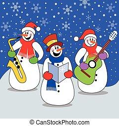 Christmas concert - Three snowman band playing christmas...