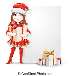 Cute cheerful cartoon girl in the Christmas costume with a many gifts and banner for your congratulation. Vector illustration.
