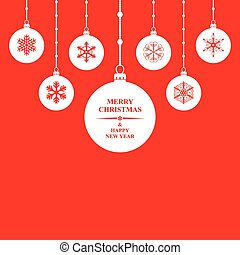 Christmas congratulatory balls card on red background