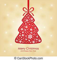 Christmas congratulatory card with fir decorated snowflakes