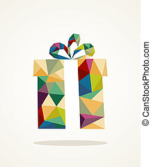 Christmas contemporary triangle gift box greeting card