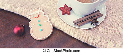 Christmas Cookie and coffee cup with decoration.
