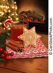 Christmas cookie and drink.